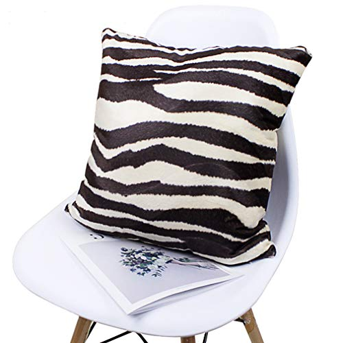 (Grapy Super Soft Short Plush Faux Fur Throw Pillow Case Cushion Cover Outdoor Indoor Zebra Stripe Print Square Pillowcase for Home Sofa Bedroom Car Coffee White 20 x 20 Inch)