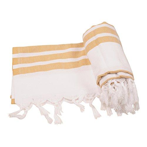 Herringbone Turkish Towel Beach Towel Bath Towel Peshtemal Fouta Spa Sauna Travel Pool Gym Yoga Picnic Camping Throw, 100% Cotton 39''x70'' (Gold) by Anatolia Towel