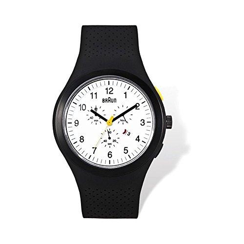 Mens Braun White Dial Black Silicone Strap Chronograph Watch