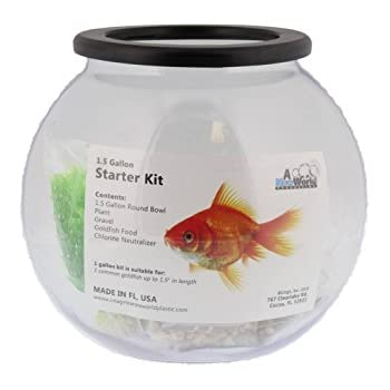 Amazon Com Imagine Clear Round Fish Bowl Starter Kit 1 5 Gal