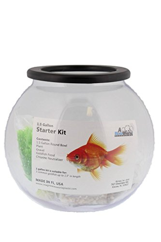 Imagine Clear Round Fish Bowl Starter Kit (1.5 (Round Goldfish Bowl)
