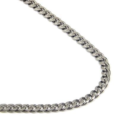 Titanium 4MM Curb Chain Link Necklace