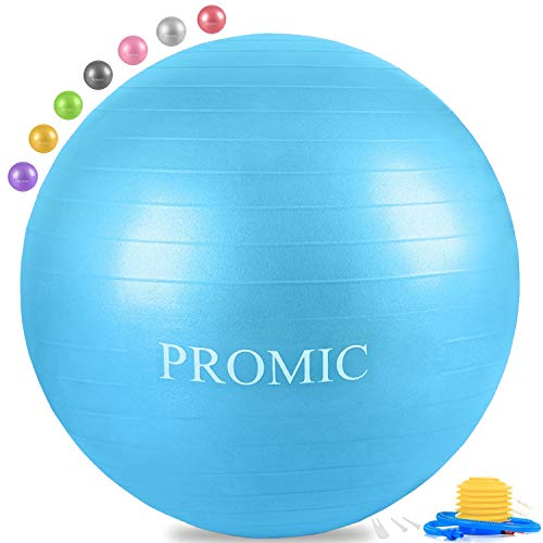 PROMIC Exercise Ball (75 cm) with Foot Pump, Professional Grade Anti Burst & Slip Resistant Stability Balance Yoga Ball for Yoga, Workout, Cardio Drumming, Classroom, Work Ball Chair (Blue)
