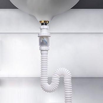 Vataler 1-1/4 Inch Expandable Flexible 17-42 Inch Universal Kitchen Sink Sewer Drain Pipe Tube S Trap Bathroom Vaniy Sink Drain Plumbing P Trap Tubing & EasyDrain Ref. 510 Expandable u0026 Flexible 1-1/2