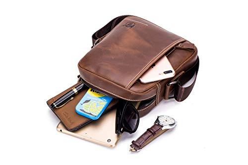 Mensajero Riñonera Hombro Vintage Cinturón Bolsa De Estilo Hombre Para Bolso Cuero Pequeño Bandolera Piel Cuerpo Harmiliy Cruzada qxCzBIUwp