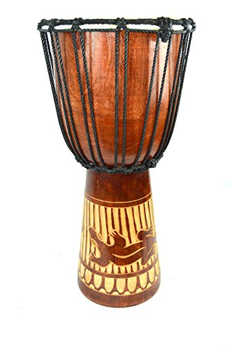 Drum Djembe Bongo Aboriginal 20'' Mahogany Wood Deep Carved Gecko Lizard by WorldBazzar