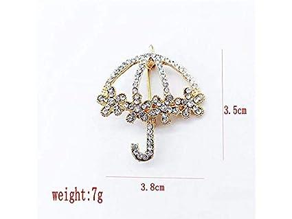 XeibD Moda Ombrello Spilla Corpetto con strass per Bouquet da sposa per donna Decor_ (Oro)