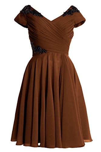 MACloth Elegant Cap Sleeve Short Mother of Bride Dress Cocktail Formal Gown Marrón