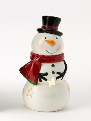 Snowman 6 Inch Earthenware Holiday Tea Light Holder