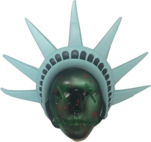 The Purge LED Light up Mask with Headband Festival Halloween Costume Statue of Liberty Fancy Dress -