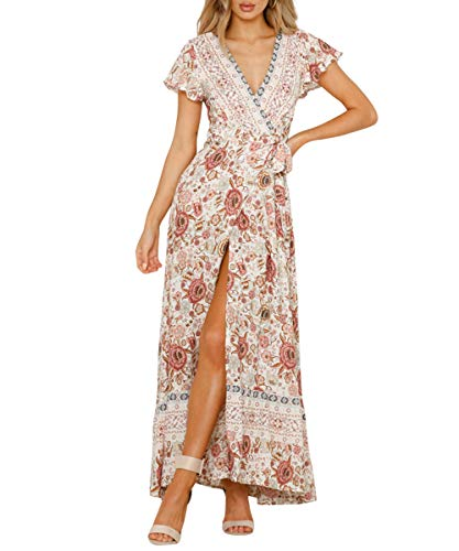 Century Star Women's Floral Print Wrap V Neck Maxi Dress Short Sleeve Split Flowy Boho Beach Long Dress Beige Small ()