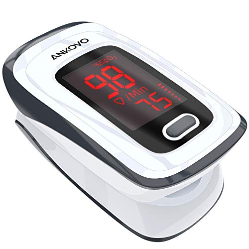 Pulse Oximeter Fingertip, Blood Oxygen Saturation Monitor, Heart Rate Monitor and SpO2 Levels, Portable with Lanyard and Batteries