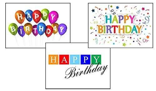 - Birthday Greeting Card Assortment - VP1601. Greeting Cards Featuring Three Different Birthday Cards. Box Set Has 25 Greeting Cards and 26 Sky Blue, Orange or Lime Green Colored Envelopes.