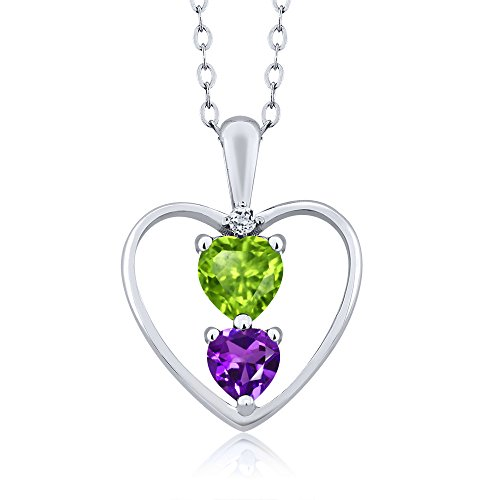Sterling Silver Heart Shape Green Peridot Purple Amethyst Pendant With 18 Inch Chain (0.69 cttw, With 18 Inch Silver Chain)