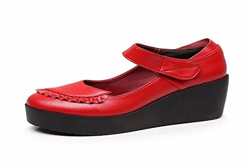 Cabeza HBDLH Primavera Redonda gules Y Comodos De Medio Zapatos Muffin Mesa Casuales Al Mujer Agua Suelo Cuero Zapatos Resistente de Zapatos Grueso Tacon rUStUT