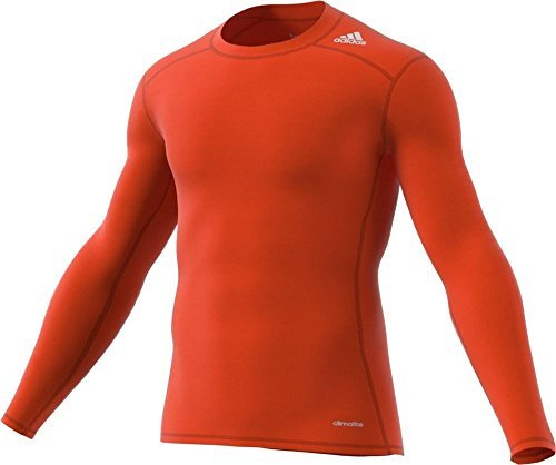 Adidas 2015 Techfit Base Mens Long Sleeve Training Shirt L Orange