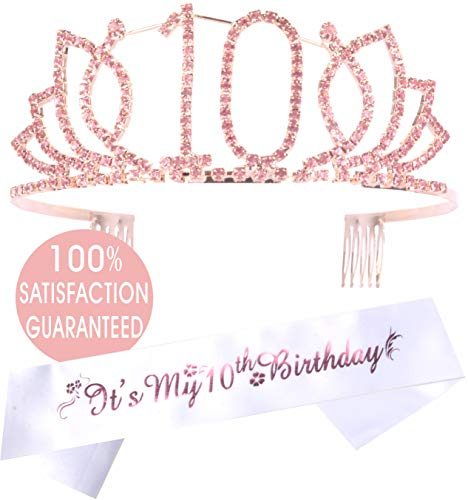 (10th Birthday Tiara and Sash Pink Flower- Happy 10th Birthday Party Supplies - It's My 10th Birthday Satin Sash and Crystal Tiara Birthday Crown for 10th Birthday Party Supplies and)