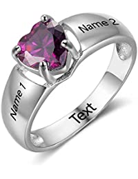 Personalized Girlfriend Gift Promise Rings For Her with Simulate Birthstone Names Cheap Engagement Ring