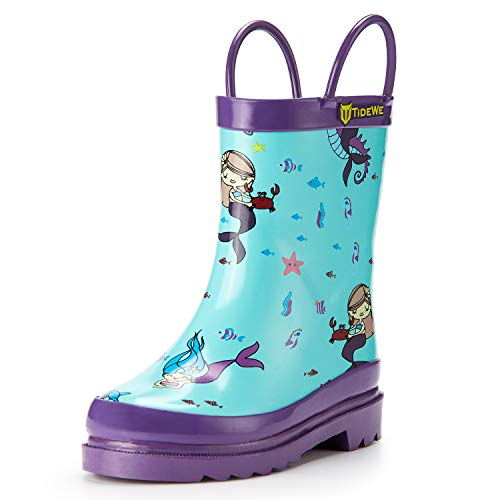 TideWe Rain Boots for Kids and Toddlers, Children Natural Rubber Rain Boots with Easy-On Handles, Waterproof Lightweight Kids Rain Boots in Fun Patterns for Boy and Girls (Mermaid Size 5T)