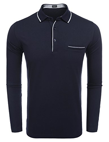 (COOFANDY Men's Long Sleeve Casual Classic Fit Polo Shirts (Small, Navy Blue))