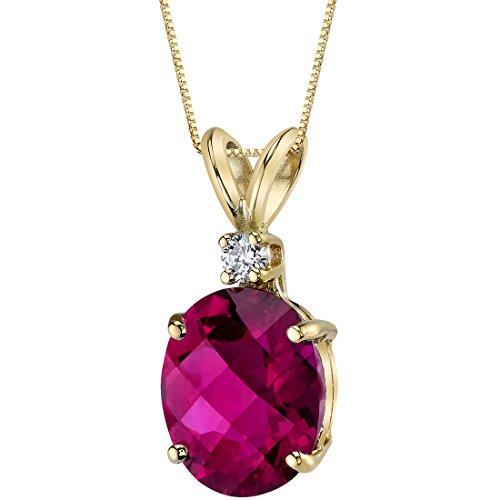 14 Karat Yellow Gold Oval Shape 3.50 Carats Created Ruby Diamond Pendant ()