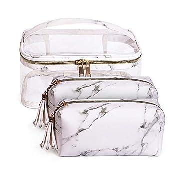 fbd4acbec1d8d8 Amazon.com : Joyful 3pcs Marble Travel Cosmetic Bag Set Clear Makeup Bag  Cosmetic Bag Set Marble Bag (Color A) : Beauty