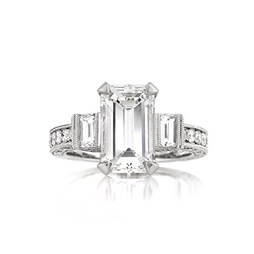 Mark Broumand 5.49ct Emerald Cut Diamond Engagement Ring
