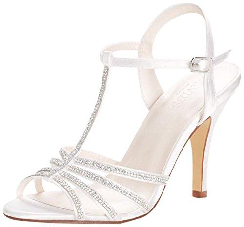 David's Bridal Crystal T-Strap High Heel Sandal Style Hannah, White, 8