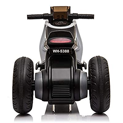 Henf 3 Wheel Electric Motorcycle for Kids, Double Drive Children Ride on Motorcycle 6V Battery Powered Battery Motor Bikes with Music, Great Gift for Boys Girls and Toddlers(White): Sports & Outdoors