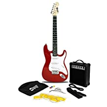 RockJam RJEG02-SK-RD ST Style Electric Guitar Super Pack with Amp, Gig Bag, Strings, Strap, Picks, Red