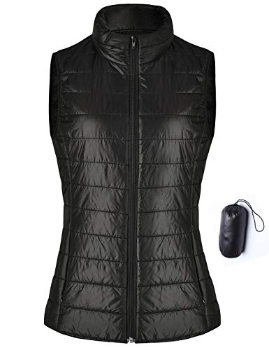 Anienaya Women's Lightweight Full Zip up Stand Collar Packable Warm Quilted Gilets Padded Puff Vest Outwear Cotton Coat Black X-Small]()