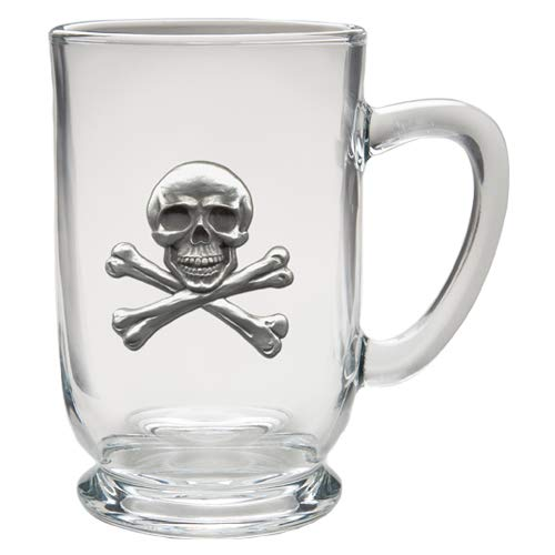 1pc, Pewter Skull and Bones Coffee Mug, Clear