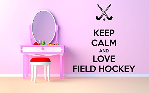 Wall Room Decor Art Vinyl Sticker Mural Decal Keep Calm And Love Field Hockey Poster Quote Phrase AS2902
