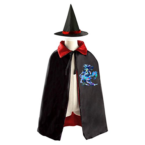 Colorful-Lucario Kids Halloween Party Costume Cloak Wizard Witch Cape With (Lucario Costume For Sale)