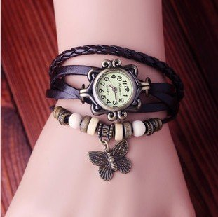 Fashion Accessories Trial Order New Quartz Fashion Weave Wrap Around Leather Bracelet Lady Woman Wrist Watch Brown