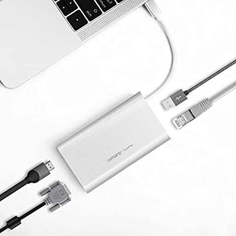 """Premium 6-1 Usb Type C Hub – Ethernet Gigabit Adapter W/ 4K HDMI, VGA, 2 x Usb 3.0 Ports – 5 Gbps W/ Power Delivery For New Macbook 12"""", MacBook Pro, Huawei Matebook, ChromeBook Pixel (Av Cord For Cell)"""