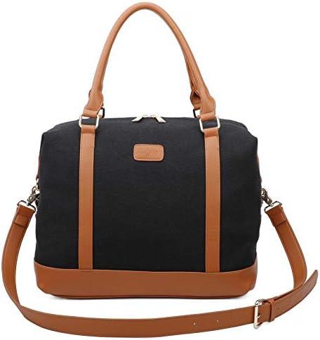 Ulgoo Travel Tote Bag Carry On Shoulder Bag Overnight Duffel in Trolley Handle Black