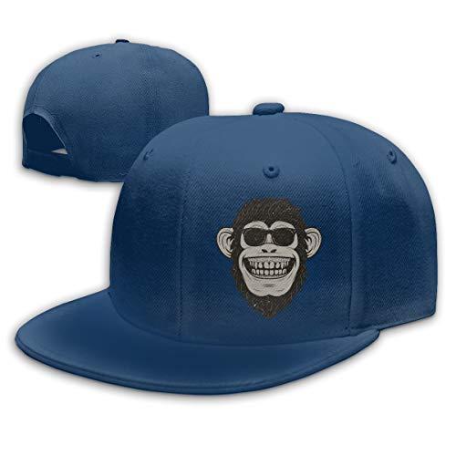 Adjustable Sports Plain Baseball Cap, Funny Monkey in Sunglasses Solid Twill Hat, Unisex