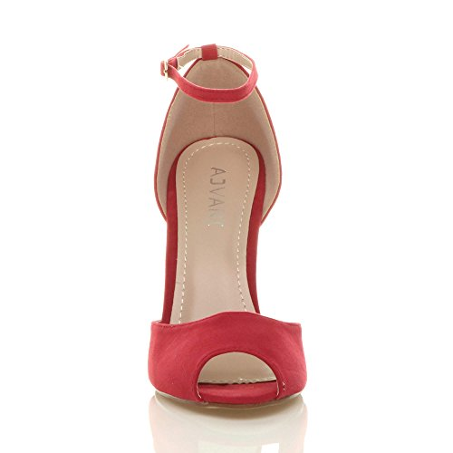 Ladies Party Ajvani Shoes Court Suede Evening Buckle Stiletto Sandals Toe Size Strap Womens Ankle high Heel peep Red tSwqw5Urx