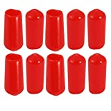 uxcell 10Pcs 6mm Inner Dia PVC Flexible Vinyl End Cap Screw Thread Protector Red