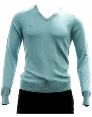 Calvin Klein Men's 40HS704 Classic Fit Chevron Tipped V-Neck Sweater (Large, Blue Tint Heather)