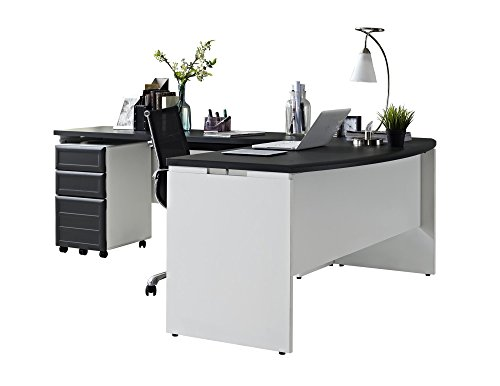 Offer Cheap Ameriwood Home Pursuit Office Set With Mobile File Cabinet Bundle Gray Sale