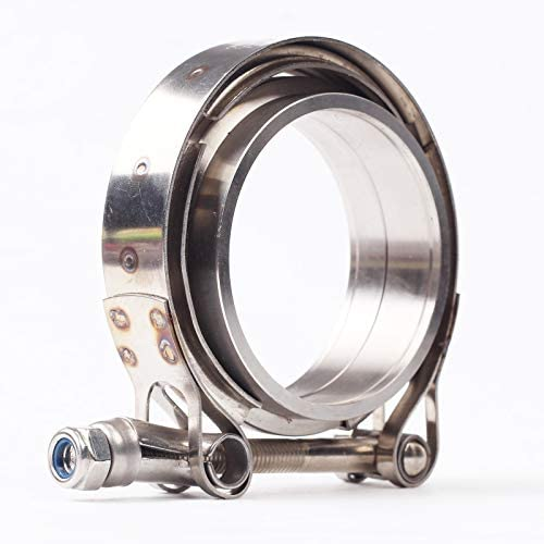 Downpipe Downpipes 3in SS Vband Exhaust Systems Perfect for Turbo Down Pipe V-Band Flange Kit For Performance Exhaust Pipes 3 Inch V Band Clamp with CNC Stainless Steel Flanges