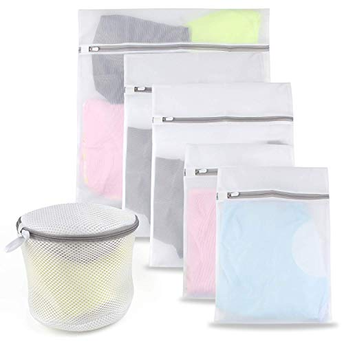 Niidor First Class Premium 6-Pack Mesh Delicates with Zipper Travel Ultimate Bra Wash Blouse Shirts Hosie Laundry Bag, White