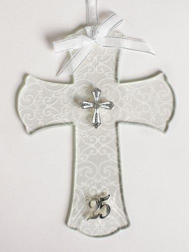 (Roman 25th Silver Wedding Anniversary Glass Wall Cross)