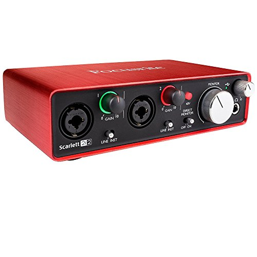 Focusrite Scarlett 2i2 USB Audio Interface (2nd Generation) Bundle includes Monoprice Tripod Stand with Boom, 2 XLR 10ft Cables and Pop Filter