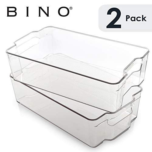 (BINO Stackable Plastic Organizer Storage Bins, X-Large - 2 Pack - Pantry Organization and Storage Refrigerator Organizer Bins Fridge Organizer Freezer Organizer Pantry Organizer Pantry Storage)