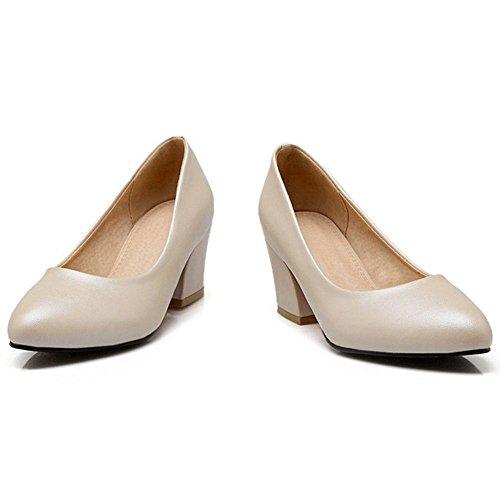 COOLCEPT Mujer Moda Tacon Medio Ancho Basico Trabajo Boca Baja Zapatos Beige