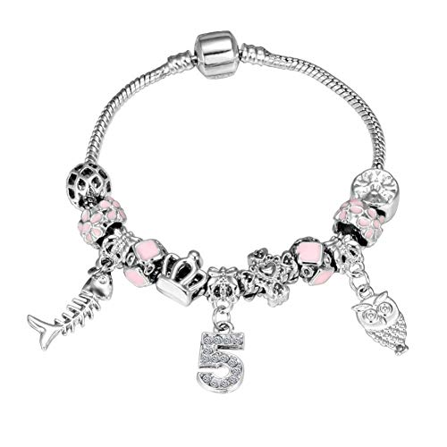 GAJSDJHN Bracelet Silver Bracelet & Bangle with Fish Owl Crystal Ball Women Beads Bracelets Wedding -