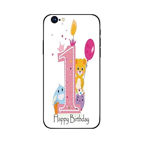Phone Case Compatible with iphone6 Plus iphone6s Plus mobilephoneprotectingshell Brandnew Tempered Glass Backplane,1st Birthday Decorations,Princess Girl Party Cake with Candle Teddy Bear Print,Lig